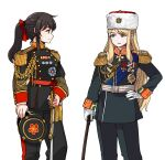 2girls bangs blonde_hair blue_eyes brown_eyes brown_hair closed_mouth english_commentary eyebrows_visible_through_hair gloves hand_on_hip hat holding holding_clothes holding_hat holding_staff holding_sword holding_weapon korean_commentary long_hair looking_at_another medal military military_hat military_uniform multiple_girls open_mouth original ponytail sidelocks simple_background skirt smile staff sword tassel uniform weapon white_background white_gloves yong-gok