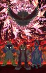 blue_eyes colorful commentary commentary_request electricity entei fire gen_2_pokemon glowing glowing_eyes highres ho-oh legendary_pokemon looking_at_viewer multicolored multicolored_background no_humans pokemon pokemon_(creature) raikou sparkle sparkle_background suicune tagme white_eyes yama_neko_3