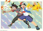 2boys :d artist_name ash_ketchum bangs baseball_cap black_hair black_pants blue_eyes blue_jacket border brown_eyes clenched_hands commentary_request dated fire gen_1_pokemon gen_8_pokemon goh_(pokemon) grey_footwear grey_shirt hair_ornament hat jacket kibisakura2 leaning_forward legs_apart looking_back male_focus multiple_boys official_style open_clothes open_jacket open_mouth outline outside_border pants pikachu pokemon pokemon_(anime) pokemon_swsh_(anime) red_legwear scorbunny shirt shoes short_sleeves shorts sleeveless sleeveless_jacket smile socks spread_fingers standing standing_on_one_leg t-shirt teeth tongue white_border white_shirt