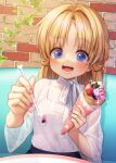 1girl :d alternate_costume bangs blonde_hair blue_eyes blurry blush brick_wall casual commentary_request crepe depth_of_field dutch_angle eyebrows_visible_through_hair food hair_intakes highres holding holding_spoon incoming_food leaf long_hair moriya_suwako nail_polish no_hat no_headwear nora_wanko open_mouth parted_bangs purple_nails see-through smile solo sparkle spoon tank_top teeth touhou upper_body white_tank_top