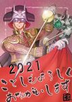2021 2boys adapted_costume amuro_ray animal_print blonde_hair char_aznable chinese_zodiac cow_print gundam happy_new_year helmet highres holding holding_cloth holding_sword holding_weapon horns ichika_(quaternionxxx) jacket mask matador mobile_suit_gundam multiple_boys necktie new_year open_hand open_mouth pilot_suit rapier red_neckwear smile space sword v-fin weapon year_of_the_ox