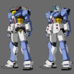 clenched_hand ecole_du_ciel gm_canard gm_cannes grey_background gundam highres kappatan looking_ahead mecha mobile_suit no_humans one-eyed radio_antenna science_fiction standing