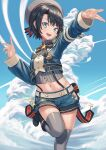 1girl :d absurdres beret black_hair blue_eyes blue_sky bow bowtie clouds cloudy_sky grey_legwear hair_ornament hat highres hip_vent hololive long_sleeves looking_at_viewer midriff navel oozora_subaru open_mouth short_hair shorts sky smile solo standing standing_on_one_leg suspender_shorts suspenders thigh-highs yorishiem