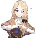 1girl blonde_hair blue_eyes cute dress female_focus fire_emblem fire_emblem:_fuukasetsugetsu fire_emblem:_three_houses fire_emblem_16 garreg_mach_monastery_uniform hair_ribbon heart heart_hands intelligent_systems long_hair looking_at_viewer mercedes_von_martritz moe nintendo ribbon side_ponytail simple_background smile solo spyggt