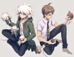 2boys absurdres ahoge aji_kosugi black_pants breast_pocket brown_hair button_eyes chain coat collarbone commentary_request danganronpa_(series) danganronpa_2:_goodbye_despair danganronpa_another_episode:_ultra_despair_girls doll green_coat green_neckwear grey_background grey_hair grey_legwear halftone halftone_background highres hinata_hajime holding holding_doll identity_v indian_style knee_up komaeda_nagito long_sleeves male_focus messy_hair multiple_boys necktie no_shoes open_clothes open_coat open_mouth pants pocket print_shirt shirt short_hair short_sleeves sitting socks white_hair white_legwear white_shirt