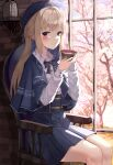 1girl blonde_hair blue_bow blue_eyes blue_headwear blue_neckwear blue_skirt blurry blurry_background blush bow bowtie chair cherry_blossoms closed_mouth collared_shirt commentary_request cup flower hat highres holding holding_cup indoors long_hair long_sleeves looking_at_viewer original pleated_skirt ruda_(ruda_e) shirt sitting skirt smile solo tree white_shirt window