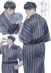 1boy black_hair blush chibi drinking fan folding_fan hand_on_hip highres holding holding_fan japanese_clothes kimono male_focus milk mtmr_0721 multiple_views sangatsu_no_lion shigeta_morio short_hair standing striped striped_kimono