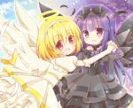 2girls :d alternate_costume aquaroom black_bow black_dress black_feathers black_hairband blonde_hair blue_hair blue_sky blush bow clouds detached_sleeves dress feet_out_of_frame furude_rika hairband halo higurashi_no_naku_koro_ni holding_hands houjou_satoko long_hair long_sleeves looking_at_viewer multicolored multicolored_sky multiple_girls open_mouth purple_sky red_eyes short_hair sky smile violet_eyes white_dress white_hairband