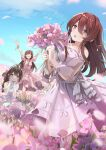 3girls ahoge alstroemeria_(flower) alstroemeria_(idolmaster) arms_up bare_shoulders blue_sky blurry blurry_foreground blush bouquet braid brown_eyes brown_hair closed_eyes collarbone commentary dress flower hair_ribbon holding holding_bouquet holding_flower idolmaster idolmaster_shiny_colors kuwayama_chiyuki long_hair multiple_girls natsuki_(gedo) oosaki_amana oosaki_tenka open_mouth petals pink_dress pink_flower ribbon sky smile squatting standing white_dress yellow_eyes