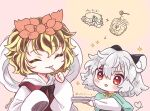 2girls animal_ear_fluff animal_ears arrow_(symbol) biyon black_hair blonde_hair blush capelet cheese closed_eyes commentary_request eating food grey_hair hagoromo hair_ornament head_down heart heart_tail holding honey_dipper honeypot long_sleeves mouse_ears mouse_tail multicolored_hair multiple_girls nazrin open_mouth plus_sign red_eyes shawl shirt short_hair smile sparkle streaked_hair tail toramaru_shou touhou twitter_username two-tone_hair white_shirt