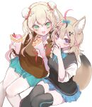 2girls animal_ear_fluff animal_ears black_hair black_vest blonde_hair blue_skirt bow bowtie brown_cardigan bun_cover cardigan crepe double_bun facial_mark food fox_ears fox_girl fox_tail frilled_skirt frills green_eyes green_nails green_neckwear green_skirt hair_bow hinamori_(18ar0) holding holding_food hololive licking_lips long_hair looking_at_viewer momosuzu_nene multicolored_hair multiple_girls nail_polish neck_ribbon omaru_polka open_mouth pantyhose pink_hair pink_nails playing_card_theme red_neckwear ribbon school_uniform simple_background sitting skirt tail thigh-highs tongue tongue_out vest violet_eyes virtual_youtuber white_background white_legwear zettai_ryouiki