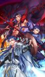 3boys arm_up armor beads belt black_gloves blue_bodysuit blue_hair bodypaint bodysuit cape casting_spell claws closed_mouth cu_chulainn_(fate)_(all) cu_chulainn_(fate/grand_order) cu_chulainn_alter_(fate/grand_order) dark_blue_hair dark_persona earrings elbow_gloves facepaint fate/grand_order fate/stay_night fate_(series) floating_hair fur-trimmed_cape fur-trimmed_hood fur_trim gae_bolg_(fate) gloves grin hair_beads hair_ornament highres holding holding_polearm holding_weapon hood hood_down hood_up jewelry kuzen lancer long_hair male_focus multiple_boys muscular muscular_male open_mouth pauldrons polearm ponytail red_eyes runes shirtless shoulder_armor skin_tight slit_pupils smile spikes spiky_hair staff tail vambraces weapon wooden_staff