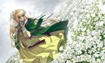 1girl blonde_hair closed_mouth field flower flower_field green_eyes hair_flower hair_ornament hanbok highres jacket jacket_on_shoulders korean_clothes long_sleeves original outdoors petals sky solo white_flower yong-gok