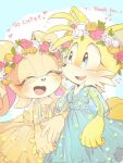 2girls ^_^ ^o^ animal_nose blue_dress blue_eyes blush closed_eyes commentary_request cream_the_rabbit dress flower fox_girl furry genderswap genderswap_(mtf) head_wreath misuta710 multiple_girls orange_dress rabbit_girl smile snout sonic_(series) tails_(sonic)