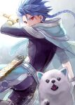 1boy 1other angry animal asymmetrical_bangs bangs belt blue_hair blurry bodysuit bodysuit_under_clothes bracelet braid braided_ponytail capelet child clothing_cutout cu_chulainn_(fate)_(all) dagger depth_of_field dog earrings fangs fate/grand_order fate/grand_order_arcade fate_(series) floating_hair grin highres hood hood_down hooded_capelet jewelry long_hair looking_at_viewer male_focus moguta_(moguta9) ponytail puppy red_eyes scabbard setanta_(fate) sheath skin_tight smile spiky_hair thigh_cutout weapon
