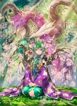 1girl branch character_request dragon flower green_hair hands_together highres hori_airi horns looking_at_viewer outdoors pink_eyes pink_flower seiza single_horn sitting solo tassel white_flower z/x