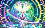 absurdres colorful commentary commentary_request gen_6_pokemon glowing glowing_eyes highres huge_filesize legendary_pokemon looking_at_viewer multicolored multicolored_background no_humans pokemon pokemon_(creature) sparkle sparkle_background sparkling_eyes tagme xerneas yama_neko_3