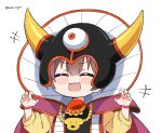 +++ 1girl :d arms_up blush_stickers brown_hair cape claw_pose closed_eyes cosplay dragon_quest dragon_quest_iii eyebrows_visible_through_hair fangs hair_between_eyes helmet hololive horned_helmet hoso-inu inugami_korone jewelry kukie-nyan long_sleeves necklace open_mouth shirt short_hair simple_background smile solo twitter_username upper_body white_background wristband yellow_shirt zoma zoma_(cosplay)