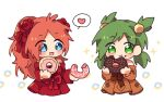 +_+ 2girls :d anna_(epic_battle_fantasy) apple_dkdksr bangs blue_eyes brown_dress chibi cropped_legs doughnut dress dress_bow eating english_commentary epic_battle_fantasy eyebrows_visible_through_hair food food_on_face green_eyes green_hair hair_bobbles hair_ornament hair_ribbon heart holding holding_food long_hair long_sleeves multiple_girls natalie_(epic_battle_fantasy) off-shoulder_dress off_shoulder open_mouth orange_hair red_dress ribbon smile spoken_heart star_(symbol) white_background