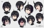 1girl angry artist_logo beige_background black_hair blush brown_eyes clenched_teeth copyright_name crying expressions face highres horns multiple_views original short_hair single_horn smile teeth wox