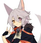 1girl absurdres animal_ear_fluff animal_ears bangs black_cape black_gloves borrowed_character braid cape collared_shirt fingerless_gloves flat_chest fox_shadow_puppet ghost_(tama) gloves hair_between_eyes heterochromia highres orange_eyes original shirt short_hair silver_hair smile solo tail twin_braids violet_eyes wolf_ears wolf_girl wolf_tail