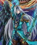 alternate_color alternate_eye_color armor aura belt_buckle blank_eyes blue_jacket bodysuit bodysuit_under_clothes boots buckle chest_jewel chest_strap crescent double_helix evil_smile facial_tattoo feathers fierce_deity final_fantasy final_fantasy_vii gem highres holding holding_sword holding_weapon jacket long_hair long_sleeves long_sword moon moon_(majora's_mask) pauldrons possessed sephiroth shirt shoulder_armor signature smile stoic_seraphim strap super super_smash_bros. sword tattoo the the_legend_of_zelda the_legend_of_zelda:_majora's_mask weapon white_shirt wings wrist_guards
