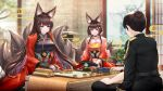 1boy 2girls :d amagi_(azur_lane) animal_ears azur_lane bangs black_gloves black_hair blunt_bangs blurry board_game choker commander_(azur_lane) commentary_request depth_of_field explosive eyebrows_visible_through_hair eyeshadow fingerless_gloves fox_ears fox_girl fox_tail gloves hair_ornament hat hat_removed headwear_removed highres japanese_clothes kimono kyuubi long_hair looking_at_viewer makeup mine_(weapon) mother_and_daughter multiple_girls multiple_tails naval_mine obi open_mouth original peaked_cap sash short_hair shougi sidelocks smile stardust_(chen'ai_weiding) tail thick_eyebrows violet_eyes wide_sleeves