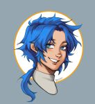 1boy bangs blue_eyes blue_hair blush happy highres how_to_draw_manga looking_at_viewer male_focus ponytail simple_background sketch smile solo spiky_hair tied_hair twitter twitter_username upper_body