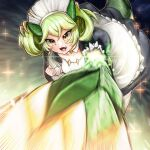 1girl apron breasts dragon_girl dragon_horns dragon_tail dragonmaid_parla dress duel_monster green_hair horns maid maid_apron maid_headdress open_mouth solo tail yellow_eyes yu-gi-oh! zzizzi