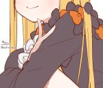 1girl abigail_williams_(fate) black_bow black_dress blonde_hair blush bow closed_mouth dress fate/grand_order fate_(series) fingernails hand_up head_out_of_frame long_hair long_sleeves orange_bow signature simple_background smile sofra solo twitter_username very_long_hair white_background