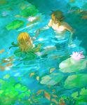 1boy 1girl abs absurdres artist_name bangs bare_arms blonde_hair braid collarbone earrings from_above hair_ornament hairclip highres jewelry lily_pad link long_hair looking_at_another partially_submerged pointy_ears princess_zelda shirtless short_hair short_ponytail swimming the_legend_of_zelda the_legend_of_zelda:_breath_of_the_wild underwater viktoria_ridzel water