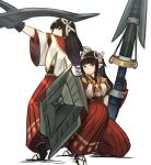 2girls :d bangs black_gloves black_hair blunt_bangs brown_eyes closed_mouth commentary_request fewer_digits full_body gloves hair_ornament highres hinoa holding holding_shield holding_weapon japanese_clothes korean_commentary long_hair long_skirt looking_at_viewer minoto monster_hunter_(series) monster_hunter_rise multiple_girls open_mouth pointy_ears red_skirt shield siblings sidelocks simple_background skirt smile sookmo standing twins weapon white_background