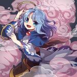 1boy 1girl ahoge blue_capelet blue_hair capelet clenched_hand clouds commentary_request dress grey_background hand_up highres holding hood hood_down hooded_capelet hoop kesa kozakura_(dictionary) kumoi_ichirin long_hair open_mouth smile touhou unzan white_dress wide_sleeves