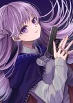 1girl absurdres baggy_clothes blue_cape blue_dress braid cape commission commissioner_upload dress expressionless eyebrows_visible_through_hair fire_emblem fire_emblem:_the_binding_blade french_braid gun highres holding holding_gun holding_weapon long_hair looking_at_viewer purple_hair solo sophia_(fire_emblem) standing violet_eyes weapon yoshiki1020