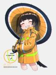 1girl ^_^ black_hair brown_hair closed_eyes commentary_request cropped_legs dog_tail facing_viewer grey_background grin highres holding holding_umbrella hood hood_down hooded_jacket jacket kuro_kosyou long_sleeves multicolored_hair oil-paper_umbrella orange_jacket orange_umbrella original short_eyebrows simple_background smile solo tail thick_eyebrows twintails two-handed two-tone_hair umbrella