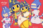 1girl :< absurdres animal_crossing animal_ears ankha_(animal_crossing) bandages barefoot black_eyes black_hair blonde_hair bob_cut cat_ears cat_tail character_name closed_eyes closed_mouth dress egyptian egyptian_clothes furry hair_ornament highres rariatto_(ganguri) red_background short_hair short_sleeves simple_background sitting sleeveless sleeveless_dress snake_hair_ornament sparkle striped_tail tail twitter_username