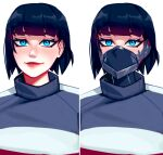1girl bangs black_hair blue_eyes blunt_bangs commission cyberpunk highres lips looking_at_viewer mask mouth_mask multiple_views qt0ri real_life second-party_source short_hair smile solo suzi_hunter upper_body