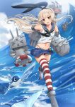 1girl anchor_hair_ornament black_hairband black_neckwear black_panties blonde_hair blue_sailor_collar blue_skirt blue_sky clouds commentary_request crop_top elbow_gloves fish full_body gloves grey_eyes hair_ornament hairband highleg highleg_panties highres kantai_collection long_hair microskirt miniskirt neckerchief osananajimi_neko panties pleated_skirt rensouhou-chan sailor_collar shimakaze_(kancolle) skirt sky solo striped striped_legwear thigh-highs underwear waving white_gloves