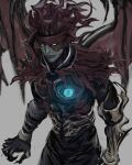 1boy armor chest_jewel clawed_gauntlets claws demon demon_wings final_fantasy final_fantasy_vii glowing glowing_eyes grey_background looking_ahead materia pale_skin rapio scar scar_on_face torn_clothes vincent_valentine wings yellow_eyes