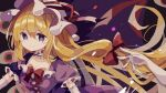 1girl blonde_hair bow choker commentary_request dress elbow_gloves eyes frilled_choker frills gap_(touhou) gloves hair_bow hat hat_ribbon highres long_hair mina_(sio0616) mob_cap purple_background purple_dress red_bow red_ribbon ribbon short_sleeves smile solo touhou upper_body violet_eyes white_gloves white_headwear yakumo_yukari