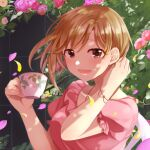 1girl aiba_yumi blush bracelet breasts brown_hair cup flower frilled_shirt frilled_sleeves frills hand_on_own_neck highres holding holding_cup idolmaster idolmaster_cinderella_girls idolmaster_cinderella_girls_starlight_stage jewelry leaf looking_at_viewer medium_breasts necklace open_mouth petals pink_shirt ponzu_(rrrritisu) puffy_short_sleeves puffy_sleeves rose shirt short_hair short_sleeves sitting smile solo tea upper_body wall