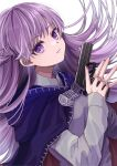 1girl absurdres baggy_clothes blue_cape blue_dress braid cape commission commissioner_upload dress expressionless eyebrows_visible_through_hair fire_emblem fire_emblem:_the_binding_blade french_braid gun highres holding holding_gun holding_weapon long_hair looking_at_viewer purple_hair solo sophia_(fire_emblem) standing transparent_background violet_eyes weapon yoshiki1020