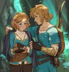 1boy 1girl absurdres artist_name bangs blonde_hair blue_eyes blush bow_(weapon) braid breasts brown_gloves brown_pants cape collarbone cowboy_shot earrings english_commentary fingerless_gloves gloves green_eyes green_shirt hair_ornament hairclip height_difference highres holding holding_cape jewelry link long_sleeves looking_at_another pants pointy_ears princess_zelda profile robe sheikah_slate shield shirt short_hair short_over_long_sleeves short_sleeves the_legend_of_zelda the_legend_of_zelda:_breath_of_the_wild viktoria_ridzel weapon