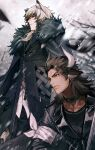2boys absurdres animal_ears arknights armband black_jacket blurry blurry_background brown_eyes brown_hair choker cow_ears earrings fur_trim hair_between_eyes highres horns jacket jewelry leather leather_jacket long_hair male_focus matterhorn_(arknights) multiple_boys outdoors silverash_(arknights) standing wakahiko white_hair zipper