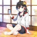 1girl :o alternate_costume bangs barefoot bike_shorts black_eyes black_hair black_shorts blurry blurry_background bow breasts cellphone collarbone commentary_request eyebrows_visible_through_hair frilled_bow frilled_hair_tubes frills full_body hair_bow hair_tubes hakurei_reimu hand_up highres holding holding_phone hood hoodie indian_style indoors long_hair long_sleeves looking_at_viewer phone red_bow shorts sidelocks sitting small_breasts smartphone solo sweater touhou white_sweater window yurara_(aroma42enola)