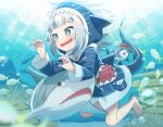 1girl animal animal_hood barefoot bloop_(gawr_gura) blue_eyes blue_hair blue_jacket blue_nails commentary_request fingernails fish fish_tail full_body gawr_gura highres hololive hololive_english hood hooded_jacket jacket kneeling multicolored_hair nail_polish open_mouth shark shark_hood shark_tail sharp_teeth short_hair sparkling_eyes symbol_commentary tail teeth two-tone_hair uchako underwater virtual_youtuber white_hair