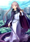 1girl absurdly_long_hair absurdres belly_chain blue_cape blue_dress blue_sky book braid breasts cape castle commission commissioner_upload dress eyebrows_visible_through_hair fire_emblem fire_emblem:_the_binding_blade french_braid highres holding holding_book holding_sword holding_weapon huge_filesize jewelry long_hair medium_breasts mineta_naoki purple_hair shiny sky smile solo sophia_(fire_emblem) sword very_long_hair violet_eyes weapon