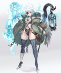 1girl ass_visible_through_thighs bandaged_hands bandages bangs blue_eyes boots cage coat dagger earrings eyepatch grin high_heels highres holding holding_staff jewelry looking_at_viewer navel navel_piercing ookuma_nekosuke piercing revealing_clothes sheath sheathed short_hair silver_hair smile solo staff thigh-highs thigh_boots weapon