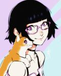 1girl animal_on_shoulder bangs black_hair blunt_bangs bob_cut borrowed_character cat choker close-up face glasses highres lisa_(ilya_kuvshinov) looking_to_the_side off-shoulder_jacket original pink-framed_eyewear polaritypus profile short_hair simple_background smile solo two-tone_background violet_eyes