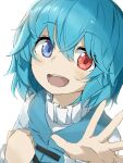 1girl :d bangs blue_eyes blue_hair blue_vest cross-laced_clothes eyebrows_visible_through_hair hair_between_eyes heterochromia highres long_sleeves looking_at_viewer open_mouth puffy_sleeves red_eyes shirt simple_background smile solo tatara_kogasa touhou tyouseki upper_body vest white_background white_shirt